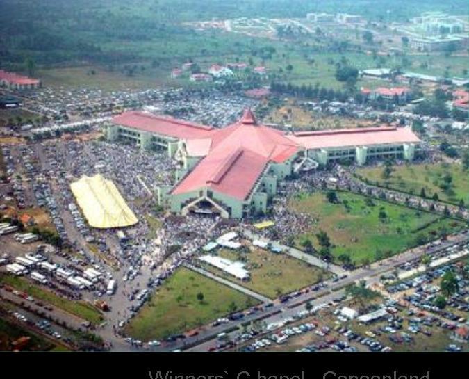 Winners` C hapel...Canaanland .... Otta.... Nigeria Inside Sitting Capacity..50,000  Outside Overflow Capacity..250,000