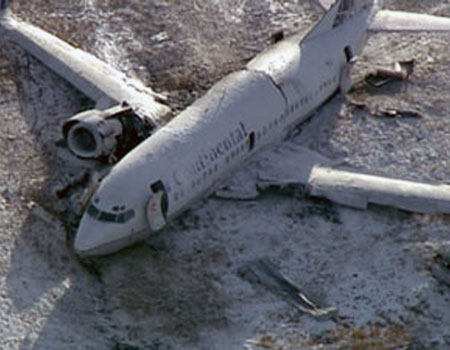 In this image taken from video released by KUSA-TV in Denver, a Continental Airlines Boeing 737 is shown after it veered off the runway.