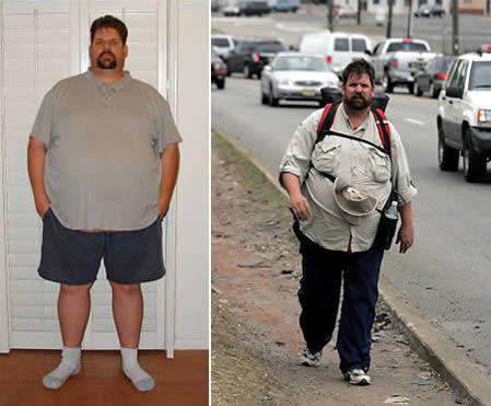Steve Vaught: Started a cross country walk to lose weight