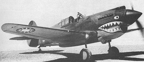 Curtiss Tomahawk fighter plane of the Flying Tigers, painted with the 12-point sun symbol of the Chinese Air Force