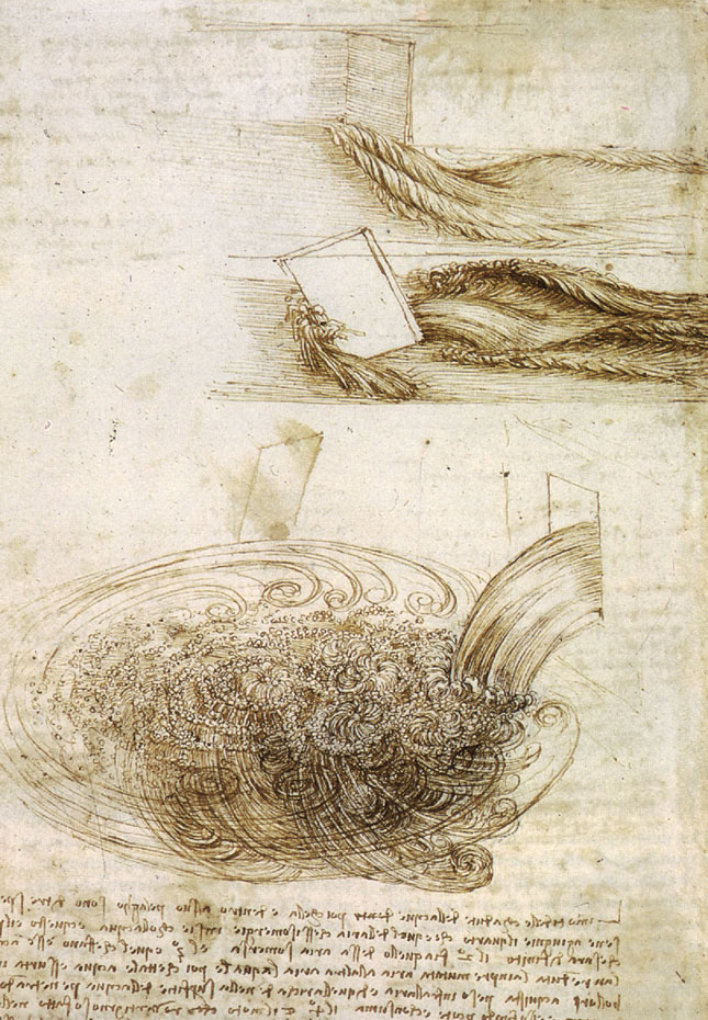 Studies of Water passing Obstacles and falling, c. 1508-9