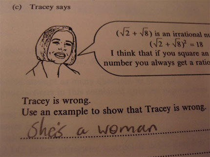 Tracy is wrong. Use an example showing Tracy is wrong.